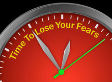 Fear. Time to lose fear motivation message on concept clock 3d rendering Stock Image