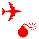 Fear and travel. Jet plane and bomb icons on white background vector illustration