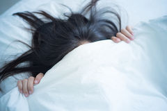 Fear under blanket. Royalty Free Stock Image