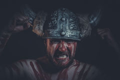 Fear, Viking warrior with a horned helmet and war paint on his f Stock Images