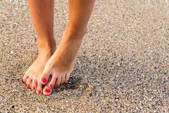 Fear Of Water. Girl With Nice Feet Has Hydrophobia (Fears Of Water Royalty Free Stock Photo