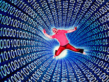 Fear of web. Man fall in a 3d binary code tunnell vector illustration