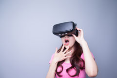 Fear woman watching virtual reality Stock Photos