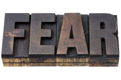 Fear word in wood type Royalty Free Stock Photo