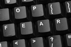 Fear. Word Fear written in computer keyboard. Close-up royalty free stock photos