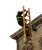 Fearess firefighter over a high wooden staircase during a rescue Royalty Free Stock Images