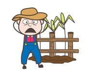 Fearful Cartoon Farmer Face Vector Royalty Free Stock Photography