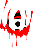 Fearful eye with hand and draining blood. An icon of a fearful eye with an ominous hand dragging while blood is draining. perfect for halloween stock illustration