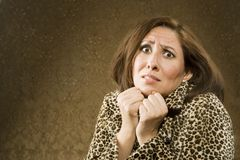 Fearful Hispanic Woman Royalty Free Stock Photography