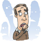 Fearful Man. A cartoon man is fearful of those around him vector illustration