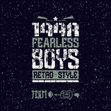 Fearless boys team emblem. Graphic design for t-shirt. Color print on a black background Stock Image