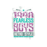 Fearless boys team emblem. Graphic design for t-shirt. Color print on a white background Stock Images