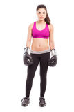 Fearless female boxer Stock Images