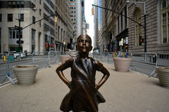 Fearless Girl. `The Fearless Girl` statue in Lower Manhattan erected to honor International Women`s Day Royalty Free Stock Photo