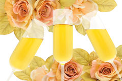 Feast. And elegance with flowers and champagne Stock Photo
