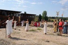 FEAST of BACCHUS .Burgos .SPAIN. FEAST of BACCHUS   Invocation ceremony to the god Bacchus in the Roman Villa of Santa Cruz.BAÑOS DE VALDEARADOS .  Burgos Royalty Free Stock Images