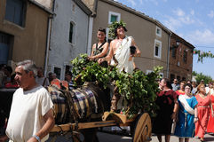 FEAST of BACCHUS .Burgos .SPAIN. FEAST of BACCHUS  Parade of Bacchus and Ariadne his wife in a cart through the streets of the town. .BAÑOS DE VALDEARADOS Royalty Free Stock Photo