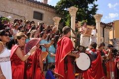 FEAST of BACCHUS .Burgos .SPAIN. FEAST of BACCHUS  Bacchus giving a speech on a stage classic in the main square .BAÑOS DE VALDEARADOS .  Burgos .Castilla y Royalty Free Stock Image