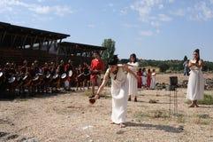 Feast of Bacchus.SPAIN. SPAIN. Castilla y Leon .Burgos .Baños de Valdearados .   Feast of Bacchus  ;  Invocation ceremony to the god Bacchus in the Roman Villa Royalty Free Stock Images