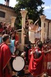 Feast of Bacchus.SPAIN. SPAIN. Castilla y Leon .Burgos .Baños de Valdearados .    FEAST of BACCHUS  ; Bacchus giving a speech on a stage classic in the main Royalty Free Stock Image