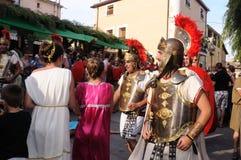 Feast of Bacchus.SPAIN. SPAIN. Castilla y Leon .Burgos .Baños de Valdearados .   Feast of Bacchus  ;  Legionnaires with  banner  Legion of  Bacchus   in the Royalty Free Stock Photos
