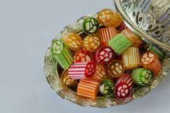 Feast Candy. Colorful,traditional Turkish/Ottoman hard candies. Colorful,traditional Turkish/Ottoman hard candies in the silver  bowl,on the white background Stock Image