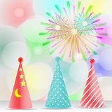 Feast, celebration, decoration accessories, colorful fireworks hat - vector concept.  Royalty Free Stock Photos
