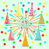 Feast, celebration, decoration accessories, colorful fireworks hat - vector concept.  Stock Photography