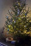 Feast of Christmas. Beautifully decorated Christmas tree and presents. At Christmas Stock Images