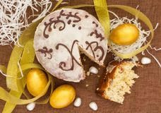 Feast of Easter. Easter cake and eggs. stock photos