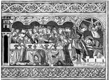Feast of Herod Woodblock print. Woodblock print of wall paintings in the choir of the cathedral at Brunswick. As far as can be guessed it depicts a rather Royalty Free Stock Image