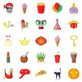 Feast icons set, cartoon style Stock Photo