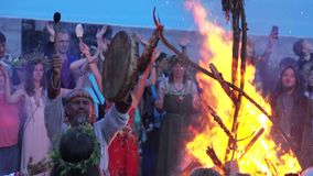 Feast of Ivan Kupala. RUSSIA, ABRAU - JUNE 20, 2017: Pagan holiday on Ivan Kupala. Ethno-esoteric Festival of Kwammanga, June 20, 2017 in Abrau Russia stock video