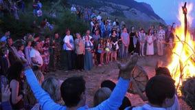 Feast of Ivan Kupala. RUSSIA, ABRAU - JUNE 20, 2017: Pagan holiday on Ivan Kupala. Ethno-esoteric Festival of Kwammanga, June 20, 2017 in Abrau Russia stock video footage