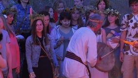 Feast of Ivan Kupala. RUSSIA, ABRAU - JUNE 20, 2017: Pagan holiday on Ivan Kupala. Ethno-esoteric Festival of Kwammanga, June 20, 2017 in Abrau Russia stock footage