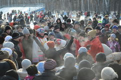 Feast Maslenitsa in Tomsk. Feast of Wire Winter Maslenitsa in Tomsk, Siberia, Russia Stock Image