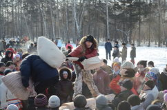 Feast Maslenitsa in Tomsk. Feast of Wire Winter Maslenitsa in Tomsk, Siberia, Russia Stock Photos