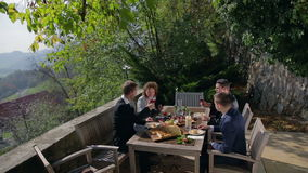 Feast in the middle of beautiful land scape stock video footage