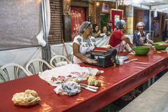 Feast of Our Lady Casaluce. Sao Paulo, Brazil, May 28, 2017. people on street and kiosks in feast of Our Lady Casaluce in the neighborhood of Bras in Sao Paulo stock photos