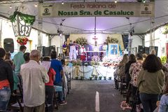 Feast of Our Lady Casaluce. Sao Paulo, SP, Brazil, May 28, 2017. Street Mass during the 117th Feast of Our Lady of Casaluce, in Caetano Pinto street, in the royalty free stock photos