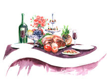 Feast. Painting of serving festive table Royalty Free Stock Photos
