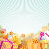Feast Presents. Festive Background with stack of Gift Boxes and Presents Royalty Free Stock Photos