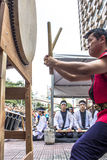 Feast of Prosperity. Sao Paulo, Brazil, December 31, 2012. Drums make the opening of the traditional Japanese Feast of Prosperity Moti Tsuki made with rice and stock photography