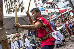 Feast of Prosperity. Sao Paulo, Brazil, December 31, 2012. Drums make the opening of the traditional Japanese Feast of Prosperity Moti Tsuki made with rice and royalty free stock photography