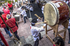 Feast of Prosperity. Sao Paulo, Brazil, December 31, 2012. Drums make the opening of the traditional Japanese Feast of Prosperity Moti Tsuki made with rice and stock images