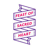 Feast of Sacred Heart greeting emblem Stock Photo