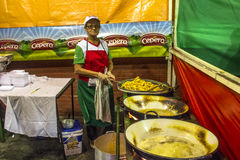 Feast of San Gennaro. Sao Paulo, Brazil, October 06, 2016. people on street and kiosks in feast of San Gennaro in the neighborhood of Mooca in Sao Paulo royalty free stock images