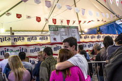 Feast of San Gennaro. Sao Paulo, Brazil, October 06, 2016. people on street and kiosks in feast of San Gennaro in the neighborhood of Mooca in Sao Paulo royalty free stock photo
