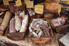 Feast of sausages. Tasty feast of sausages in a festival Italian royalty free stock photography