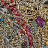 A feast of shiny jewelry Stock Images